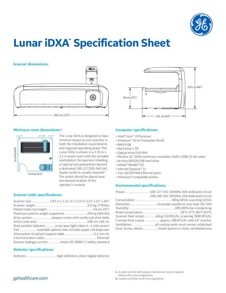 iDXA Datenblatt